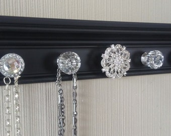 U CHOOSE 5,7 Or 9 KNOBS  jewelry organizer/wall black necklace holder additional hook option gift of decor Rhinestone jewelry storage
