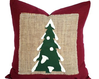 One Christmas tree Pillow cover,  holiday pillow, decorative pillow, Christmas decoration, Red Pillow