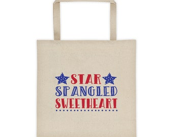 Cotton Canvas Natural Tote Bag Star Spangled Sweetheart