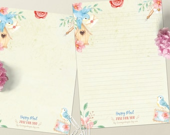 Happy Mail birds - DOWNLOAD file - Printable Writing paper - A5 size