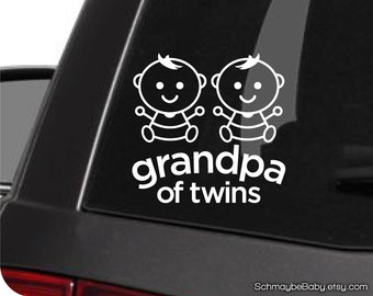 Grandpa of Twins White Vinyl Car Decal - Baby Version - Twin Boys, Twin Girls, Boy Girl Twins