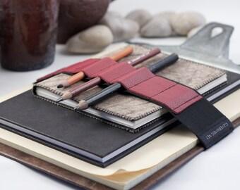 Large Journal Bandolier // red leather // (a better pencil case, journal pen holder, book strap, pen loop, pencil roll, pen bandolier)