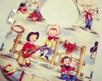 Spring Sale Cowpokes - Infant or Toddler Bib - Terry Cloth Backing - Reversible with ADJUSTABLE Snaps