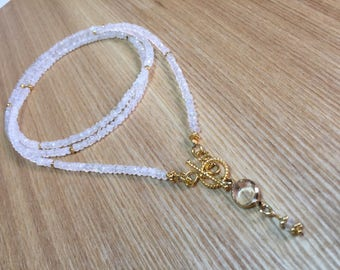 Moonstone Necklace, Rainbow Moonstone Long Layering Necklace, Stacking Necklace, Wrap Necklace, Gift for Her