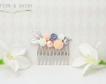 Peach pink, white and blue, silver hair comb. Silver and peach flower hair clip. Wedding bridal hair.
