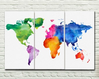 World map canvas etsy world map canvas sets wall print set painting watercolor art print set home decor world map gumiabroncs Gallery