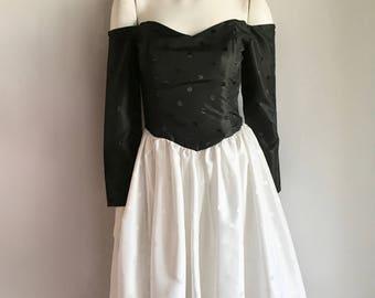 Vintage Women's 80's Formal, Party Dress, Black, White, Polka Dot (M)
