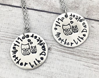 Like Mother Like Daughter Necklace - Mothers Day Gift - Mother Daughter Necklaces - Mommy Necklace - Owl Necklace - Hand Stamped - Pewter