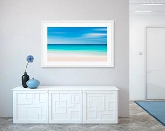 Caribbean Beach Panorama, Abstract Ocean Art, Large Panoramic Print, Tropical Nautical Wall Decor, Seascape Photo, Blue Aqua Teal Turquoise