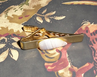 Vintage Tie Clip Gold Tone with Striped Gemstone by Palliser 1960s