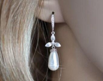 Handmade Swarovski Teardrop Pearl & Matte Silver Orchid Dangle Earrings, Bridal, Wedding (Pearl-608)