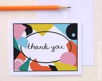 Cool Thank You Cards, Blank Thank Yous, Cute Notecard Set, Thankyou Card Set,  Thank You Card Set of 8 A2 Greeting Cards