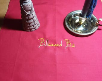 Blessed Be Altar Cloth in Red