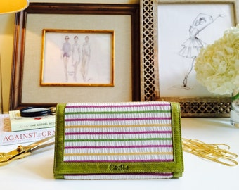 Fabric Wallet// Leather Clutch// Gift for Mom// Women's Wallet// Slim Wallet// Mother's Day Gift