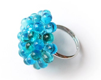 Funky Cluster Ring - Caribbean Blue Berry Ring, Bubbly Glass Ring, Turquoise Beaded ring, Bridesmaids gift, Expandable ring, Statement ring