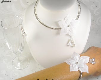Set rhinestone and wedding white silk flower - bridal rhinestone and silk - Romantica Collection Flower necklace - Bridal jewelry, wedding