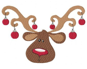 Reindeer Head Machine Embroidery Design Single
