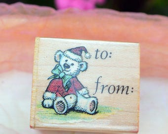 SALE! Bear Rubber Stamp - UNUSED - To/From, All Night Media Inc,Bear #644C - Vintage - Fabulous!