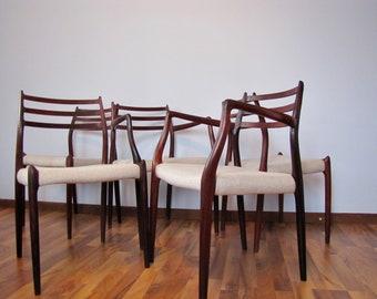 JL Møller Danish Mid Century Chairs set of 5 (Models 62&78)