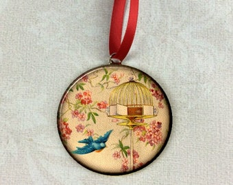 """Blue Little Bird Flying From Cage Image Christmas Tree 2.25"""" Ornament"""