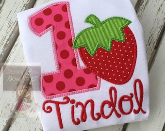 Strawberry Birthday Shirt or Bodysuit -- A Berry Sweet Birthday -- Strawberry shortcake theme in pink, red and green