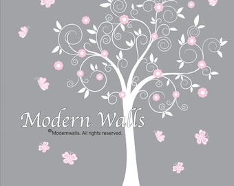 Baby Girl Tree Wall Decals, Nursery Wall Decor, Tree Wall Decals, Flower Wall Decal-e26