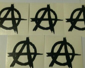 5 Decal set : 5 Anarchy Symbol Graffiti Vinyl Decals