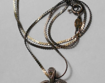An intricately Crafted VINTAGE Sterling Silver & dark red stone HEART pendant with silver chain