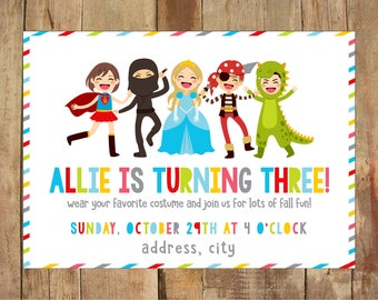 Costume Birthday Invitations - Personalized Printable - 5x7 DIGITAL file - Halloween Party - Dress Up