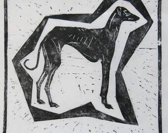 "BirdsforBirds ""Azawakh""  7 1/4"" X 7 1/4""  art block print greyhound galgo"