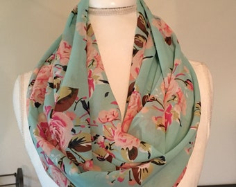 Mint Green Floral Infinity Scarf