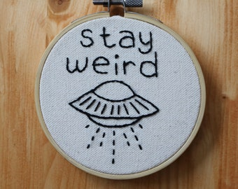 Stay Weird UFO Embroidery - White