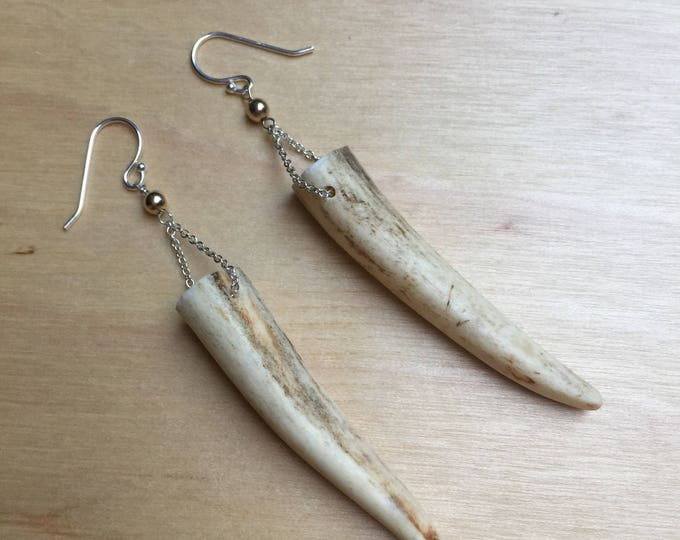 Insouciant Studios Kensie Earrings Antler and Sterling Silver Large