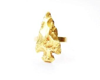 Cast Brass Arrowhead Ring