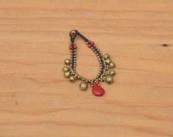 Vintage 80's Anklet Jewelry Brass Bells With Beads And Tear Drop