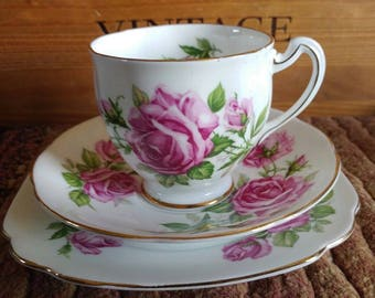 Vintage Royal Stafford Orleans Pink Rose China Tea Cup Saucer & Side Plate Trio Tea Party Wedding Gift