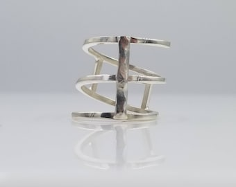 Spiral & Bar Ring in Sterling Siver