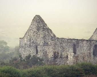 Old Stone Church Photograph Ireland foggy medieval green fog ancient stone building gray grey travel photography eery ruins