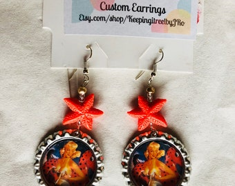 Starfish beach pinup bottlecap earrings