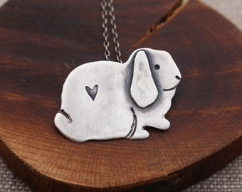Lop Eared Bunny Necklace, Sterling Silver