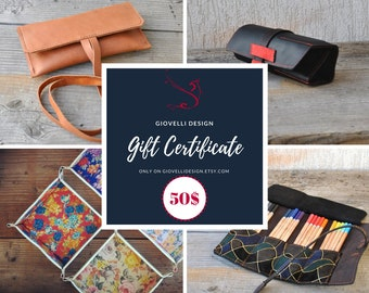Mother's Day Gift, Gift Certificate, Gift Card, 50 Dollars voucher, last minute gift, gift coupon, leather gift, personalized gift