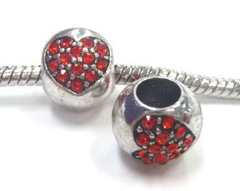 1 Bead - Red Rhinestone Heart Valentines Silver European Bead Charm E1094
