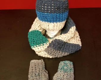 Handmade | Crochet | Hat with pom pom | Infinity Scarf | Fingerless Gloves | Winter Set | Winter warmth