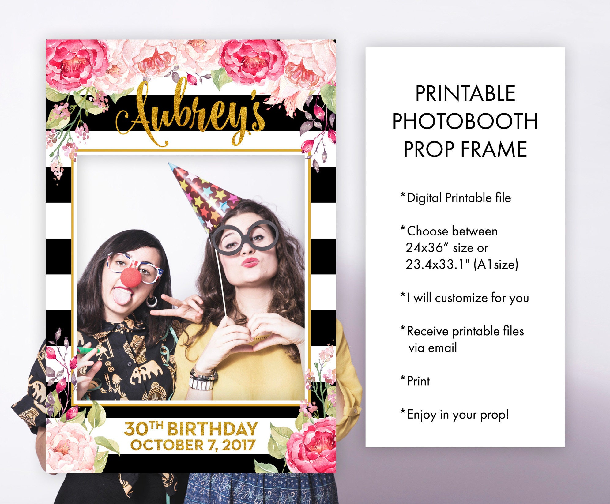 Birthday Photo Booth Frame Props Floral Pink Black and White