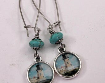 Lighthouse Earrings - Nautical - Turquoise Dangles - Resin Jewelry - Postage Stamp Jewelry - Lighthouse & Turquoise Magnesite Kidney Wires