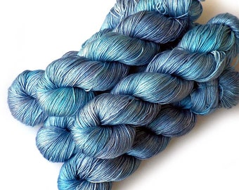 Hand Dyed Yarn Pure Silk Fingering, Bonnie Blue