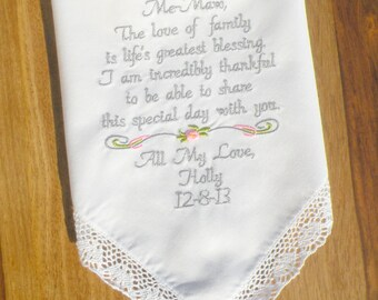 Wedding Gift for Grandmother, Grandma, Me-Maw Embroidered Wedding Handkerchiefs Grandma Grandmother Wedding Gifts by Canyon Embroidery