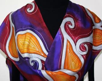 Silk Scarf Handpainted Purple, Burgundy, Orange Handmade Shawl MYSTIC SUNDANCE, Silk Scarves Colorado. Size 11x60. Birthday, Christmas Gift
