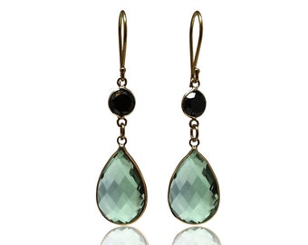Diamond Prasiolite Gold Dangle Earrings 14K Yellow Gold Black Diamond Green Amethyst Earrings