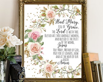 Hail Mary Prayer, Watercolor Flowers, Bible printable, Christian Poster, Bible Verse Printable, Bible printable, pink floral rose, pink rose